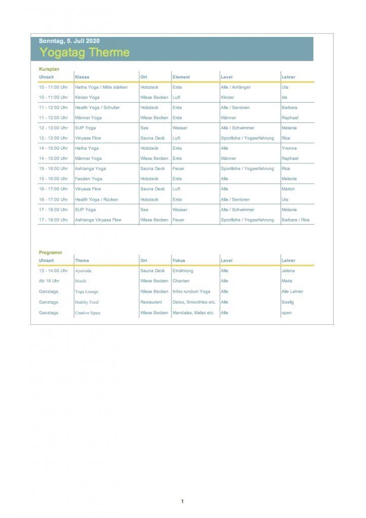 Thermen-Stundenplan Vorläufig, Yogatag am 5.07.2020